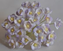 1.3cm 2 tone VERY LIGHT LILAC DOUBLE-LAYERED Daisy Mulberry Paper Flowers